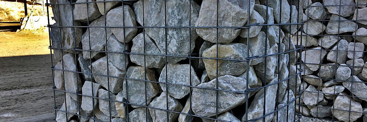 Gabionensteine aus Erzgebirgsmarmor, Hammerunterwiesenthal