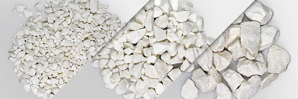 verschiedene Körnungen vom Erzgebirgsmarmor - vertrieben von unserem Handelspartner sh minerals, roh- und baustoffe